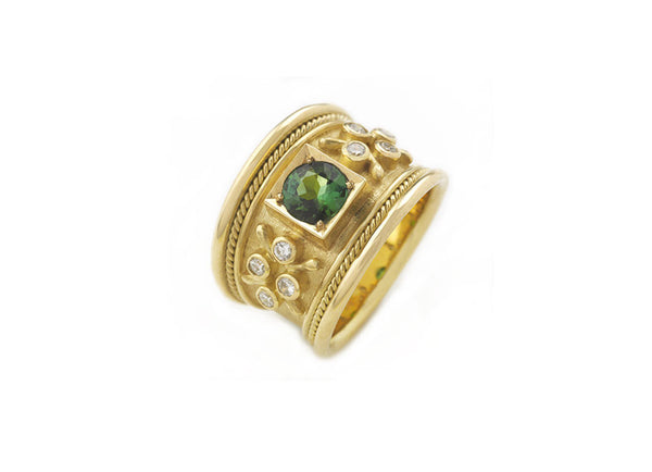 Green-Blue Tourmaline Tapered Templar Ring