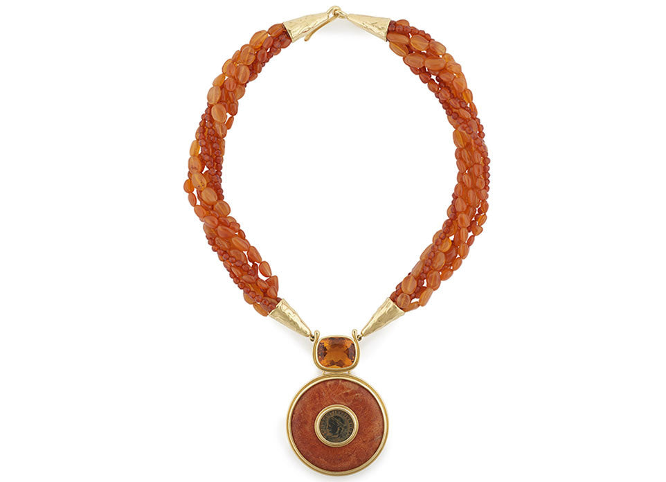 Carnelian Necklace with Citrine, Coral and Bronze Coin Pendant