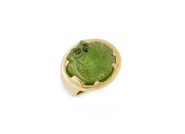 Peridot Owl Ring