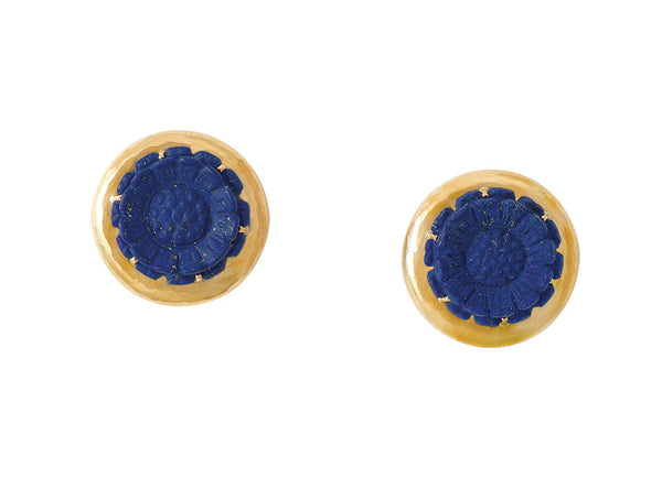 A gorgeous pair of 18ct yellow gold earrings featuring a lapis marguerite cameo.