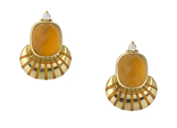 A fabulous pair of 18ct yellow gold Eleanor earrings featuring wonderful cushion shape diagonal chequerboard cut fire opal (12.80cts) set in a gold crescent shape decorated with matching enamel stripes. The earrings are decorated to the top with one round brilliant cut diamond (0.22cts in total) and three gold beads.