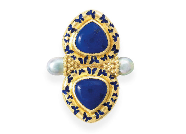 A stunning yellow gold Arcadia pin, set with soft triangular shaped lapis stones in a surround decorated with blue enamel butterfly motifs. In the middle on each side of the pin, held in gold beaded cones is an akoya natural silver cultured pearl.