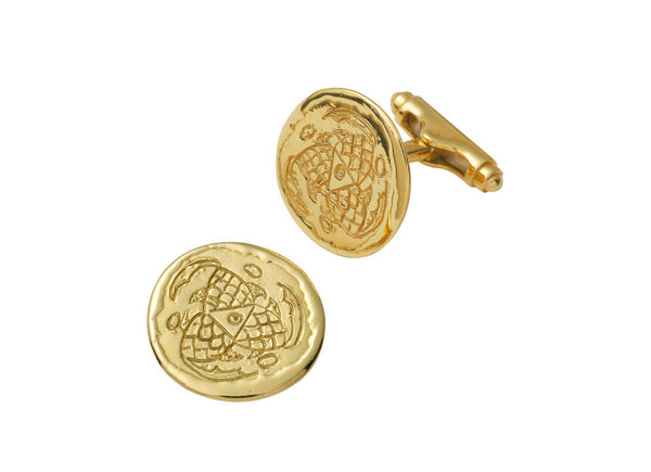 A pair of 18ct yellow gold cufflinks engraved with three swirling abstract fish. The cufflinks are finished with swivel bar backs.