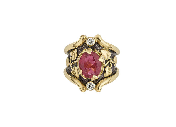 Rubellite Heliotrope Ring with Purple Enamel
