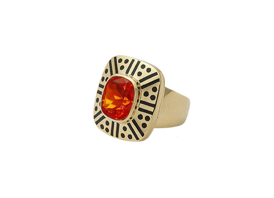 Fire Opal and Black Enamel Ring