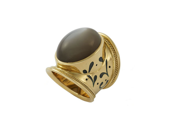 Grey Moonstone Tapered Templar Ring