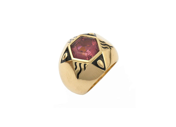 Pink Red Tourmaline Ring