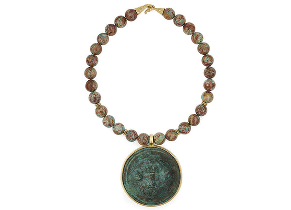 Imperial Turquoise Necklace with Roman Phalon of Zeus