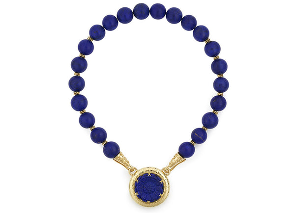 Lapis Necklace with Lapis Marguerite Cameo