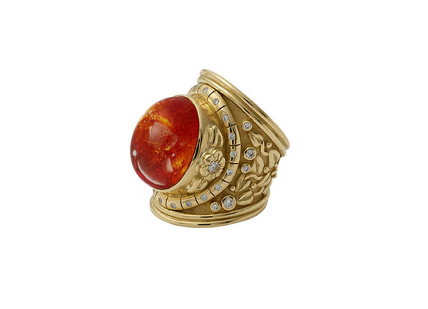 Mandarin Garnet and Diamond Tapered Templar Ring