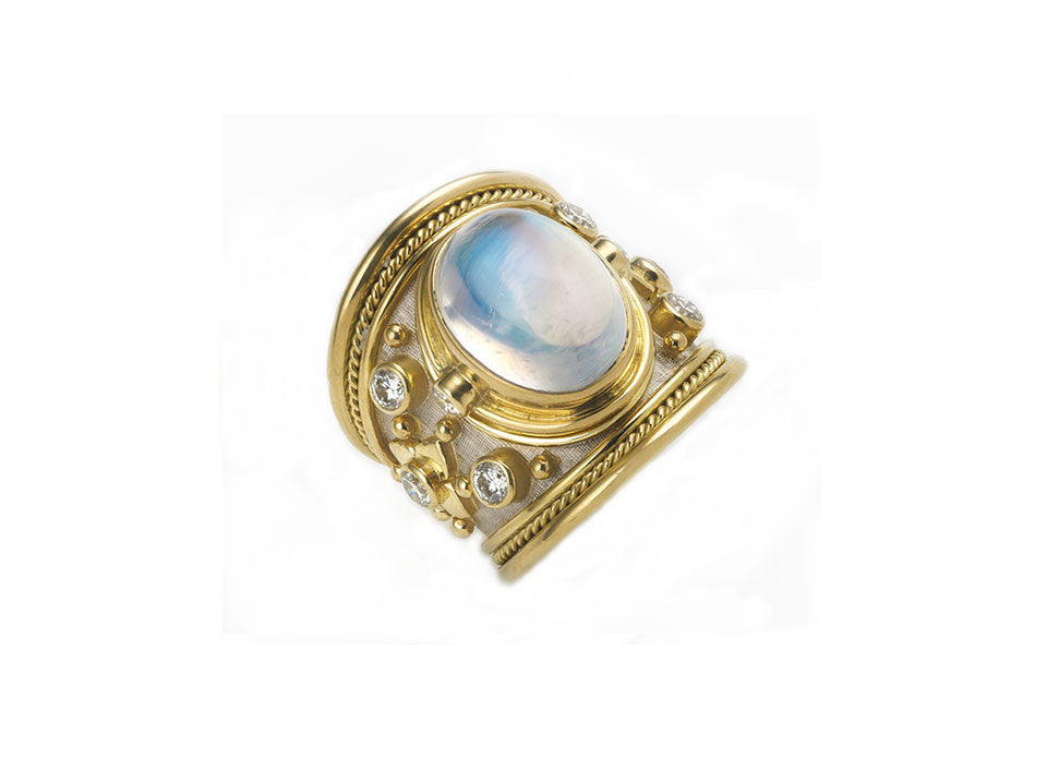 Moonstone and Diamond Tapered Templar Ring