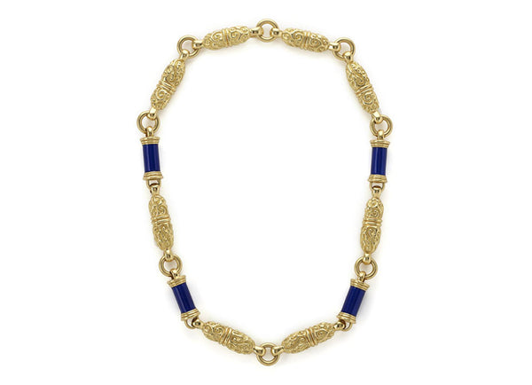 Blue Enamel and Gold Necklace