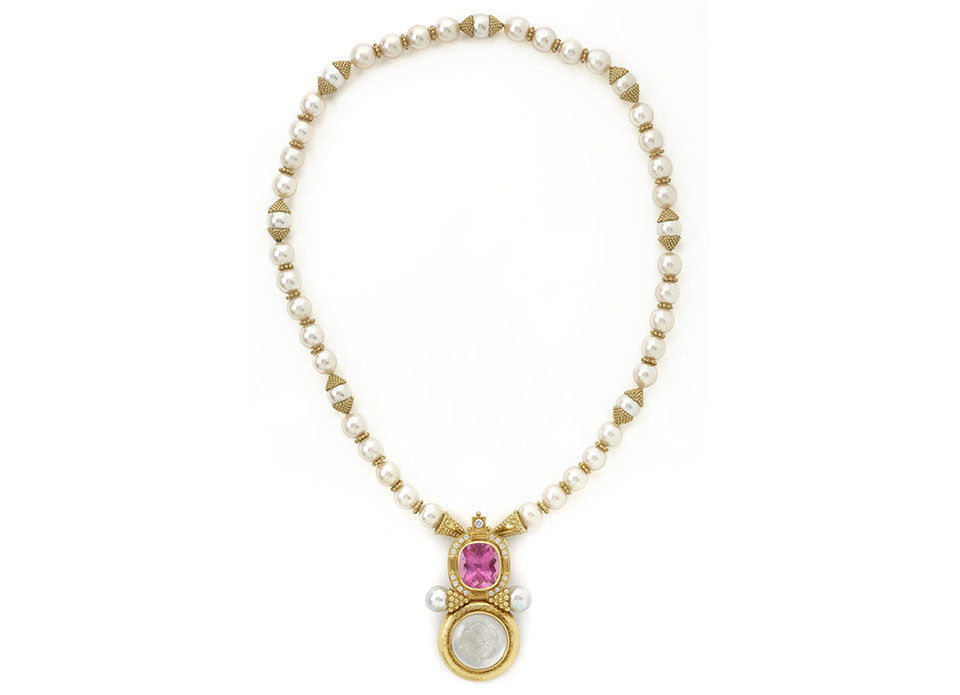 Cultured Pearl Necklace and Arcadia Pin