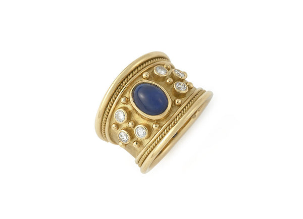 Sapphire Tapered Templar Ring with Diamonds