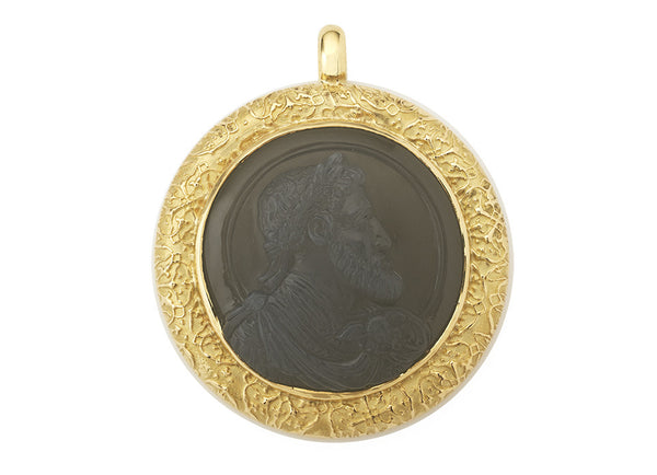This pendant has a grey moonstone cameo featuring the Holy Roman Emperor Charles V.