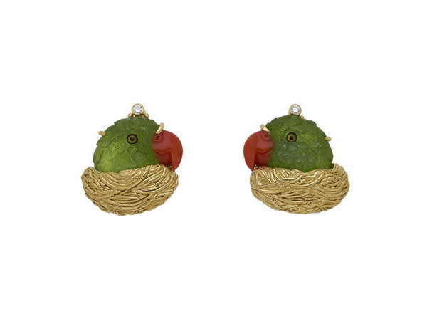 Peridot Parrot Earrings
