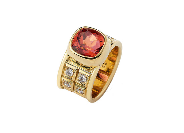 Pink-Orange Tourmaline and Diamond Ring