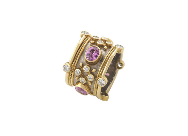 Pink Sapphire Crown Ring