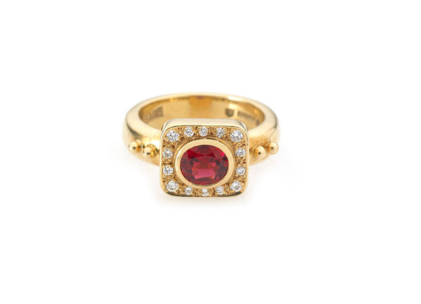 Red Spinel & Diamond Valois Ring