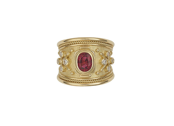 Red Spinel Tapered Templar Ring