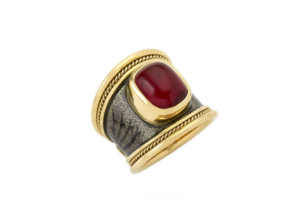 Red Tourmaline Tapered Templar Ring