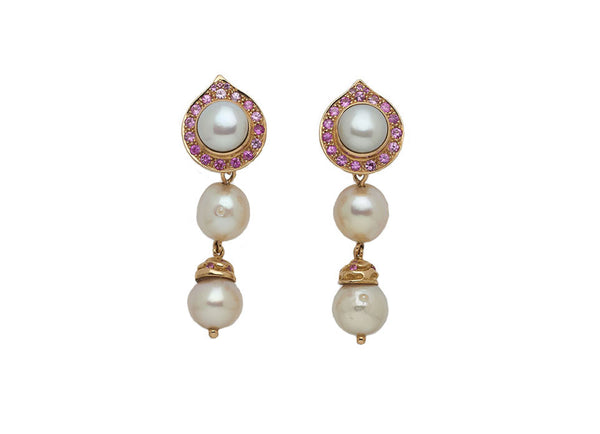 Pearl and Pink Sapphire Drop Earrings