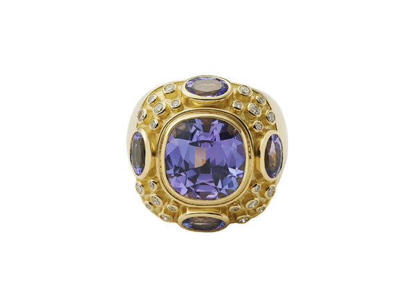 Tanzanite and Diamond Charlemagne Ring