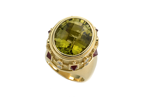 Golden Tourmaline Charlemagne Ring