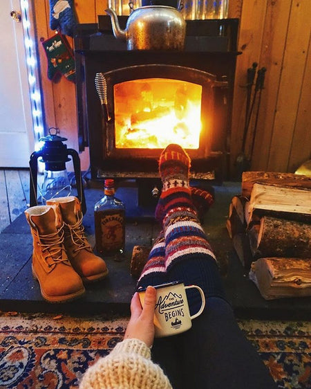 Step into cozy with these hand knit cabin slipper socks