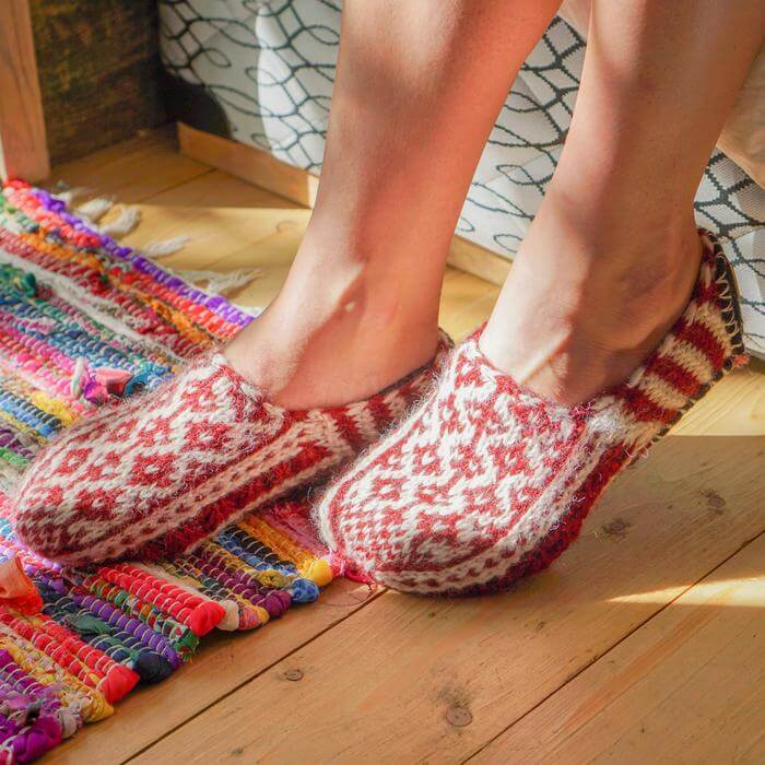Tibetan Socks Red Ankle Bed Slipper Socks