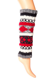 Tibetan Socks Hand Knit Wool Fleece Lined Leg Warmers Boot Toppers Black Red White