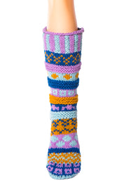 Hand Knit Wool Long Fleece Lined Slipper Socks - Tibetan Socks