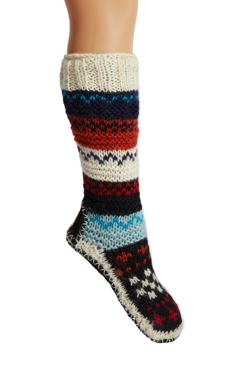Tibetan Hand Knit Wool Long Slipper Socks Blue