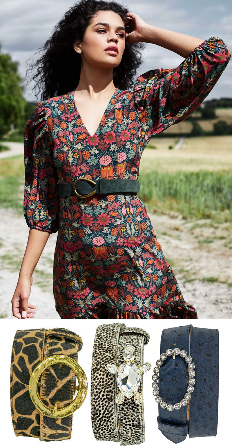 ridleylondon-printed-floral-silk-octavia mid-axi-made-to-measure-dress-with-peachy-belts