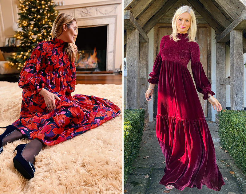 ridleylondon-anne-ruby-velvet-maxi-dress-@seenonsarah-and-printed-floral-silk-anne-maxi-dress