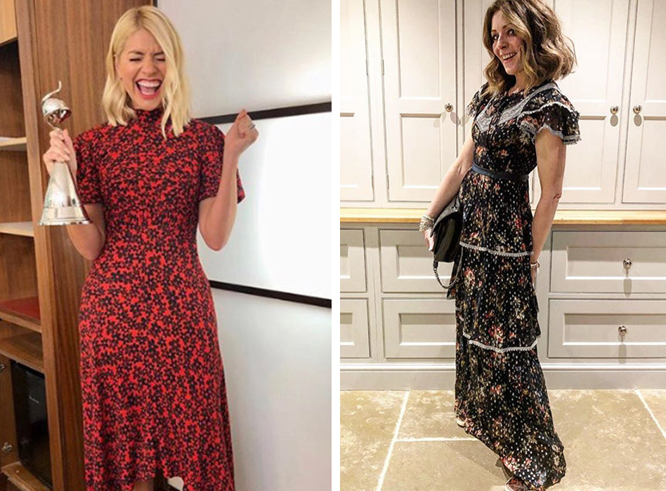 cb4b12ac Prairie promise: Holly Willoughby (left) and Kat Farmer from  @doesmybumlook40 (right) already proving that prairie style floral maxi  dresses are the must ...