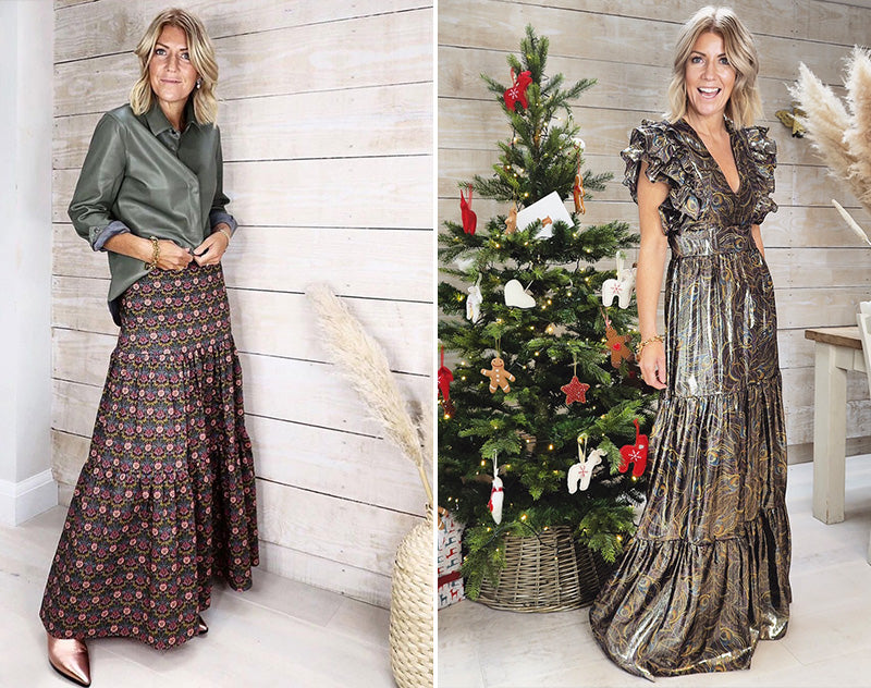 ridleylondon-christmas-dress-image-sammy-@theturqoiseflamingo-printed-floral-metallic-silk-maxi-dress