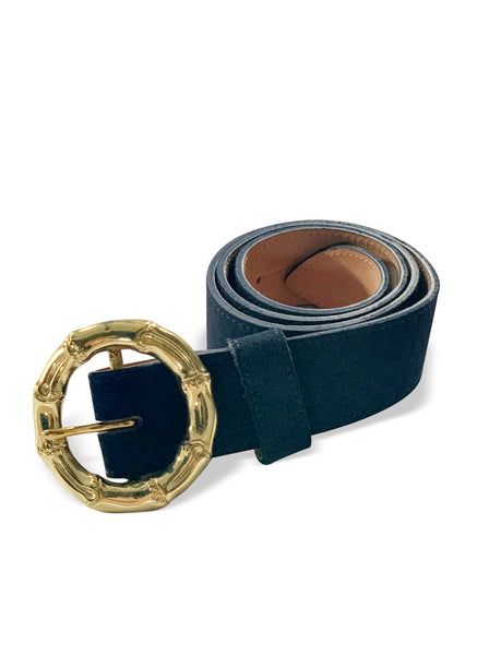 NAVY SUEDE BELT