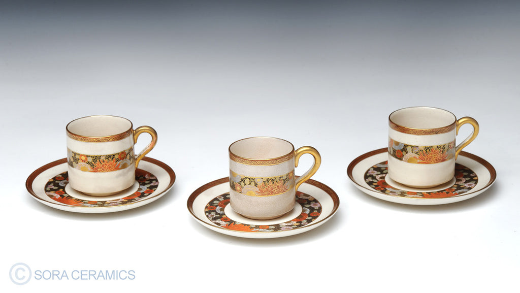 Satsuma cups with red and gold designs