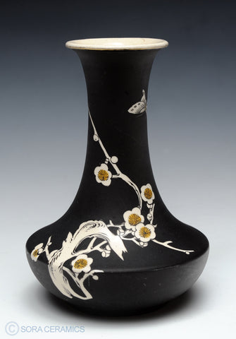 Satsuma vase, black matte finish, white interior and floral motifs