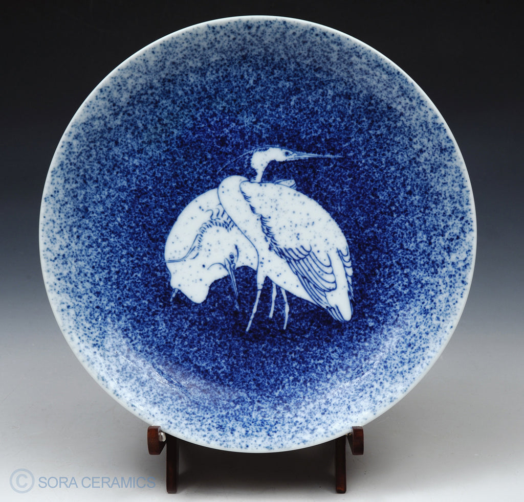 Imari plate, blue with white cranes