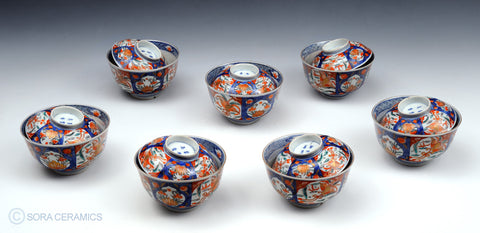 Imari lidded bowls, vivid colors, blue and white
