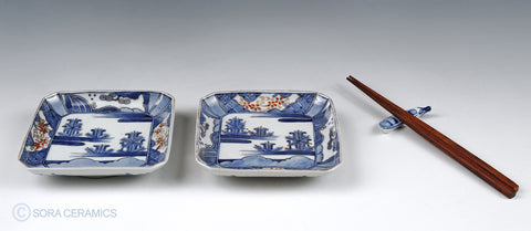 Imari small plates, square, blue and white