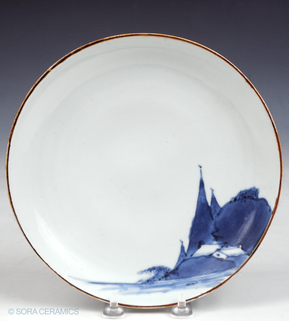 Ai-Kutani porcelain plate in Namagake technique