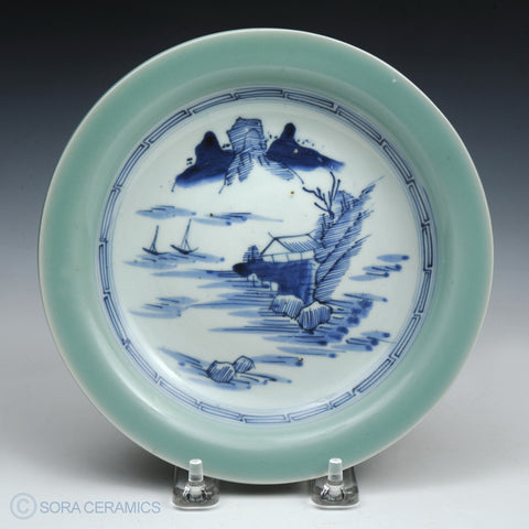 Imari plate, celadon rim, blue and white center
