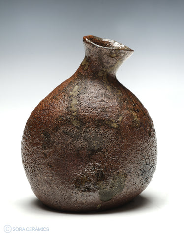 sake flask, brown glazed pottery