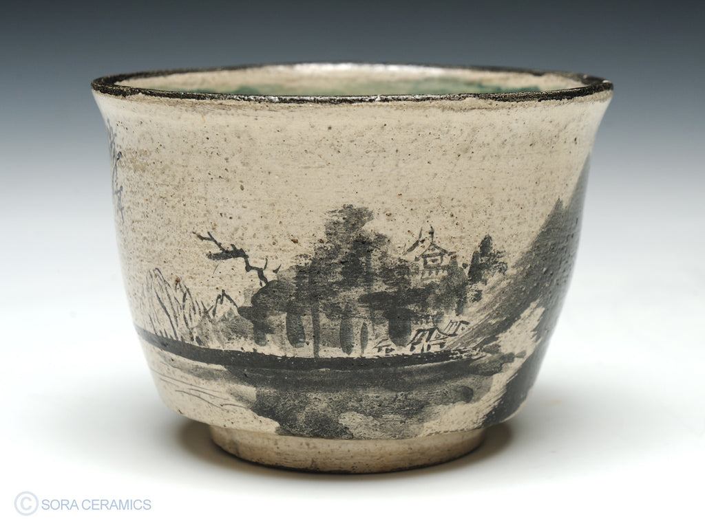 pottery cup, cream with polychrome brushwork
