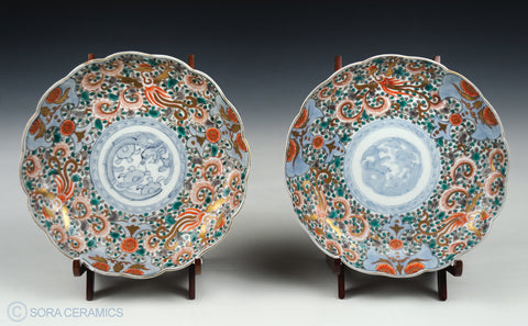 Imari plates, 2 large, polychrome on blue and white