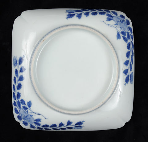Nabishima plates, square, blue floral designs on white