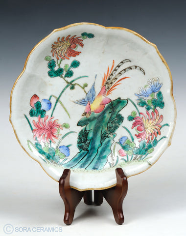 Chinese dish, lobed rim, polychrome designs on white